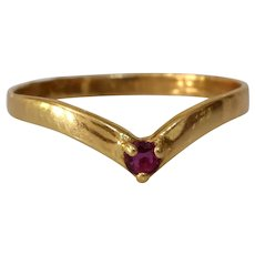 Art Deco Ruby Stacking Ring | 18K Gold V-Shaped Contour | Wedding French