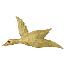French 18K Gold Bird Brooch | Yellow Red Ruby | Vintage Retro Pin