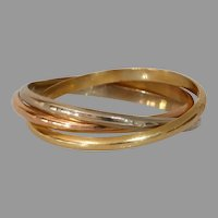 Multi Band Tricolor Gold Ring | 18K Yellow White Rose | Vintage Pinky