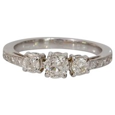 Three Stone Diamond Engagement Ring   14K Gold European Cut   Vintage