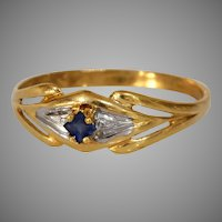 French Solitaire Sapphire Engagement Ring | 18K Gold Cocktail | Vintage