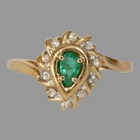 Emerald Diamond Engagement Ring | 14K Gold Pear Cut | Vintage Cocktail