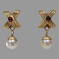 Pearl Garnet Drop Earrings | 14K Yellow Gold | Vintage Retro Cabochon
