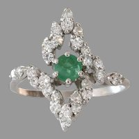 Emerald Cocktail Ring | 18K White Gold Diamond | Vintage Emerald Cut