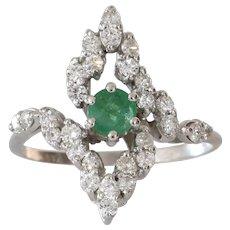 Emerald Cocktail Ring | 18K White Gold Diamond | Vintage Emerald Cut