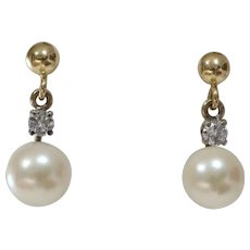Pearl Diamond Drop Earrings | 14K Bicolor Gold | Vintage White Cultured