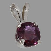 Ruby Gold Pendant | 14K White Cushion Cut | Vintage Solitaire Israel