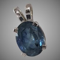 Blue Sapphire Pendant | 14K White Gold | Vintage Israel Solitaire Oval