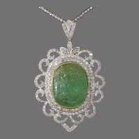 Carved Emerald Pendant Necklace | 18K Gold Diamond | Vintage Bicolor