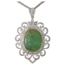 Carved Emerald Pendant Necklace | 18K Gold Diamond | Vintage Bicolor
