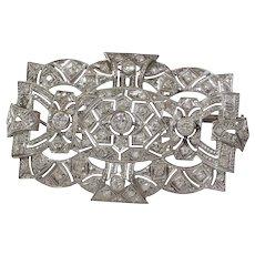 Edwardian Platinum Brooch Pendant | Diamond Antique Pin | Open Work