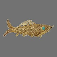 Chinese Export Fish Pendant Charm | Vermeil Sterling Silver | Vintage