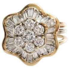 Diamond Cocktail Ring | 18K Yellow Gold | Vintage Cluster Brilliant Cut
