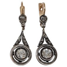Russian Diamond Drop Earrings | 14K Gold Silver | Antique Dangle Lever