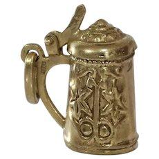 Beer Stein Charm Pendant   8K Yellow Gold   Vintage Mug Germany