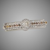Fancy Colored Diamond Brooch | 18K White Gold | Vintage Bar Pin