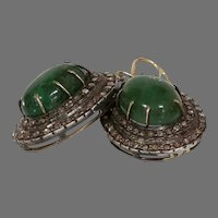 Victorian Emerald Diamond Earrings | 15K Gold Silver | Antique Cabochon