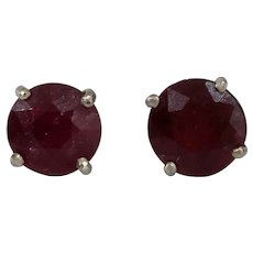 Ruby Stud Earrings | 14K White Gold | Vintage Red Solitaire Round Cut
