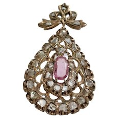 Ottoman Sapphire Diamond Pendant | 9K Rose Gold Pink | Antique Jerusalem