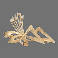 Retro Diamond Brooch | 9K Yellow Gold Brilliant | Vintage Bow UK 9ct