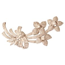 Art Deco Diamond Flower Brooch | 18K White Gold | Vintage Floral Pin
