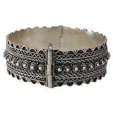 Vintage Silver Cuff Bracelet | Ethnic Berber Bedouin | Yemeni Afghan Boho