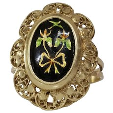 Enamel Gold Cocktail Ring | 14K Yellow Floral Bow | Vintage Israel