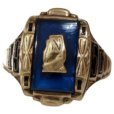 1956 Gold Date Ring | 10K Yellow Blue | Vintage Retro Signet Initial N