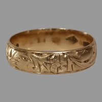 Art Deco Wedding Ring   14K Rose Gold   Marriage Band Russia Vintage