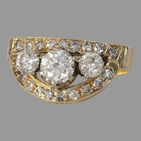 Retro Diamond Cocktail Ring   14K Yellow Gold   Vintage Brilliant