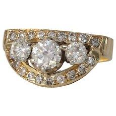Retro Diamond Cocktail Ring | 14K Yellow Gold | Vintage Brilliant