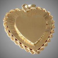 Gold Heart Locket Pendant | 14K Yellow Retro | Vintage Jewelry USA