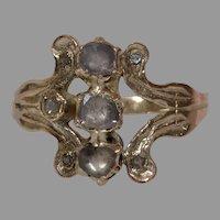 Georgian Three Stone Diamond Ring   14K Rose Gold   Antique Victorian