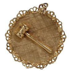 Retro Judge Gavel Pendant | 14KT Yellow Gold | Vintage Hammer Filigree