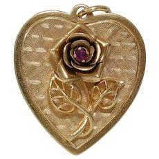 Retro Rose Heart Pendant | 14K Yellow Gold Ruby | Vintage Jewelry USA