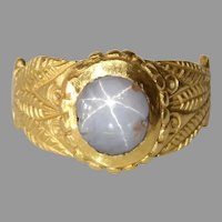 Victorian Star Sapphire Ring | 21K Yellow Gold | Antique Solitaire