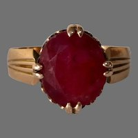Victorian Russian Ruby Ring | 14K Gold Antique | Solitaire Engagement