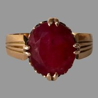 Victorian Russian Ruby Ring   14K Gold Antique   Solitaire Engagement
