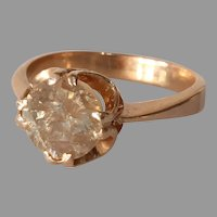 Russian Art Deco Diamond Ring   14K Rose Gold   Solitaire Belcher Fancy