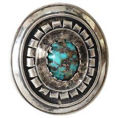 Retro Turquoise Silver Brooch Pendant | Vintage Israel | Cabochon 935