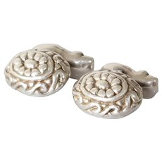 Vintage Oval Silver Cufflinks | Sterling Lost Wax | Mens Jewelry Argent