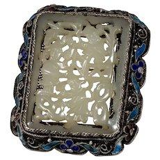 Chinese Export Jade Brooch | Sterling Silver Enamel | Vintage Celadon