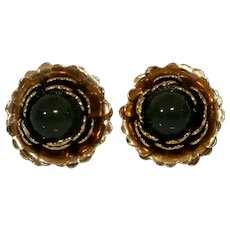 Retro Jade Flower Earrings   10K Yellow Gold   Vintage Cabochon Green