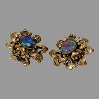 Retro Black Opal Earrings  14K Yellow Gold  Solitaire Vintage Precious