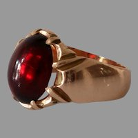 Victorian Russian Spinel Mens Ring   14K Rose Gold   Solitaire Antique
