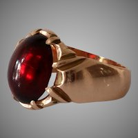 Victorian Russian Spinel Mens Ring | 14K Rose Gold | Solitaire Antique