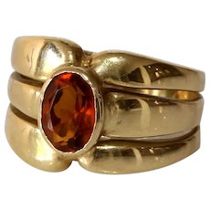 Retro Citrine Cocktail Ring | 14K Yellow Gold | Vintage Solitaire Orange
