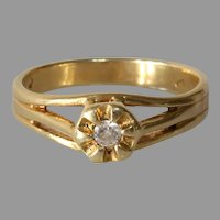 Art Deco Diamond Engagement Ring | 14K Yellow Gold | Solitaire Belcher