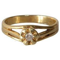 Art Deco Diamond Engagement Ring   14K Yellow Gold   Solitaire Belcher