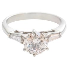 Vintage Diamond Engagement Ring | Platinum Brilliant Cut | Three Stone